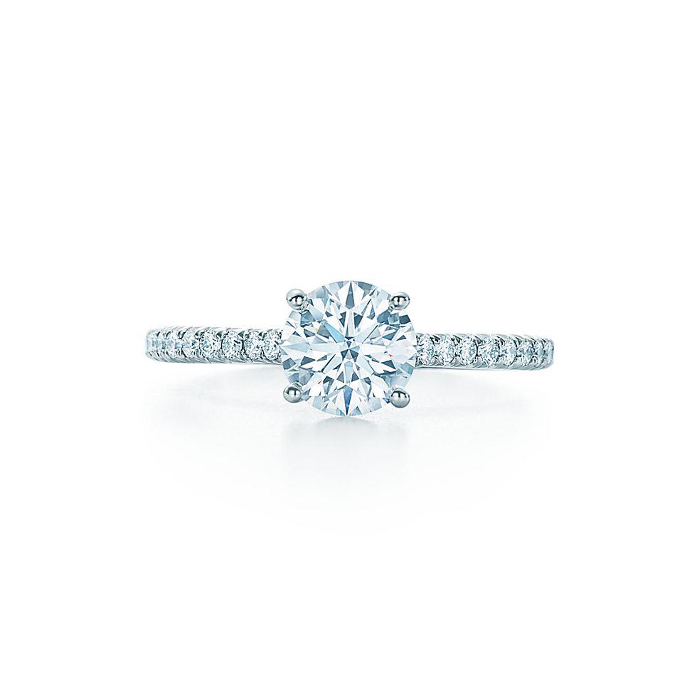 Tiffany Novo Round Brilliant With Pave Set Diamond Band Engagement
