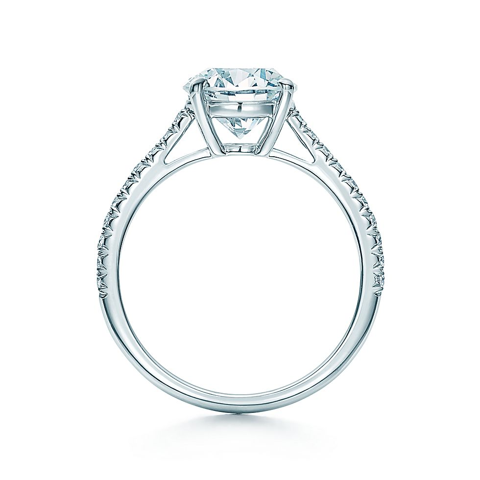 ee084628c4619 Tiffany Novo®  Round Brilliant with Pavé-set Diamond Band Engagement Rings    Tiffany   Co.