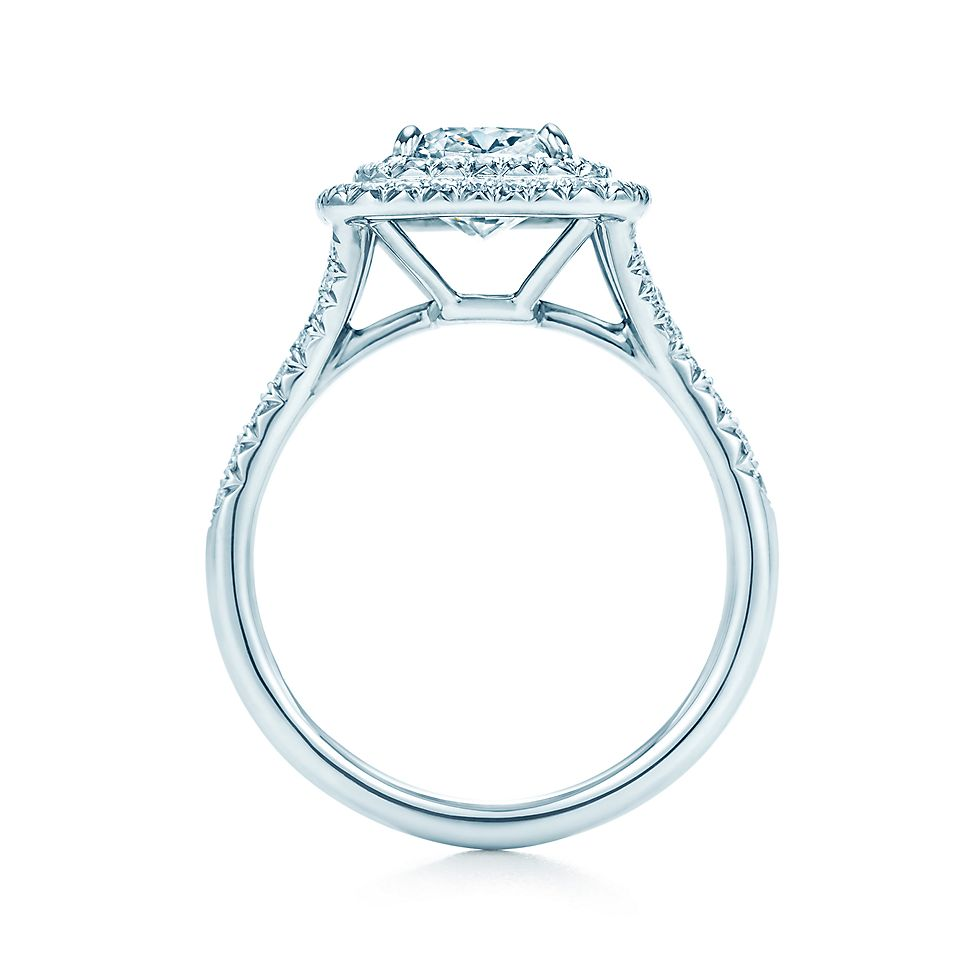 Tiffany Soleste Cushion Cut Halo Diamond With Diamond Band En Ement Rings Tiffany Co