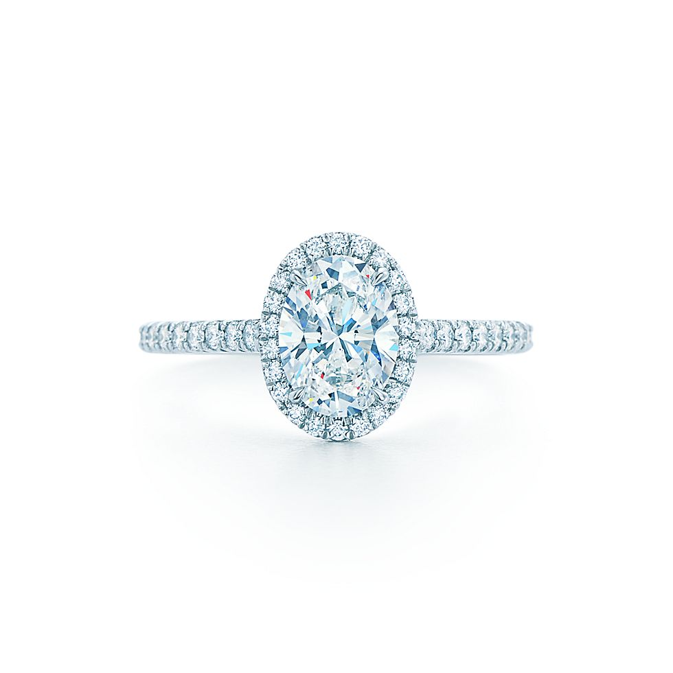 Tiffany Soleste Oval Cut Halo En Ement Ring With Diamond Band