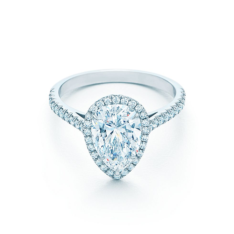 iris ring cut pear halo certified engagement diamond gia