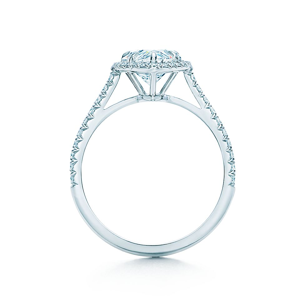 Tiffany Soleste Pear Shaped Diamond With Diamond Band Engagement