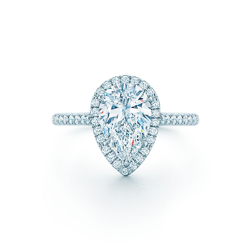 Tiffany Soleste Pear Shape Halo En Ement Ring With Diamond Band
