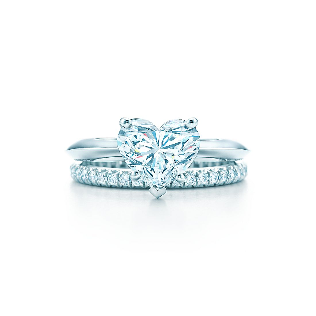 Heart shape engagement rings tiffany co 200 ct shown with tiffany soleste diamond band ring junglespirit Image collections