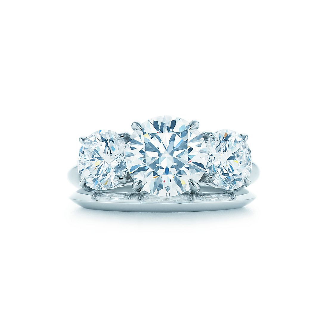 Round Brilliant Three Stone Engagement Rings Tiffany Co