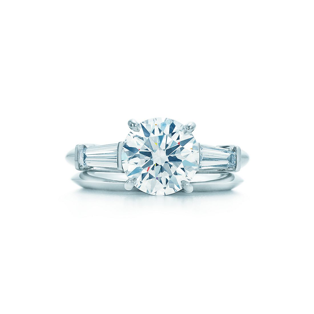 Round Brilliant with Tapered Baguettes Diamond Engagement Rings ...