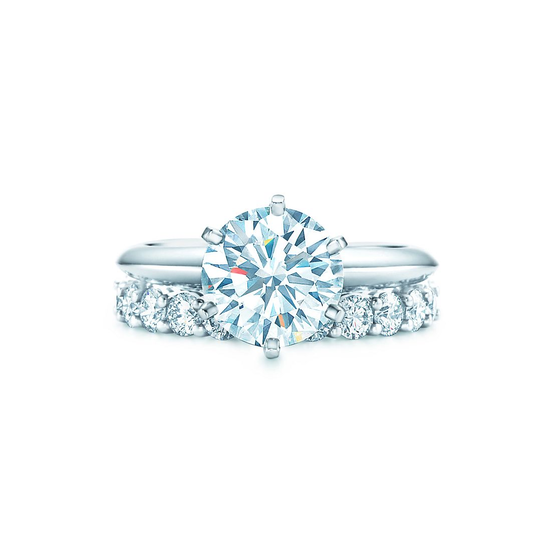 2 1 Ct Shown With Tiffany Embrace Wedding Band Ring