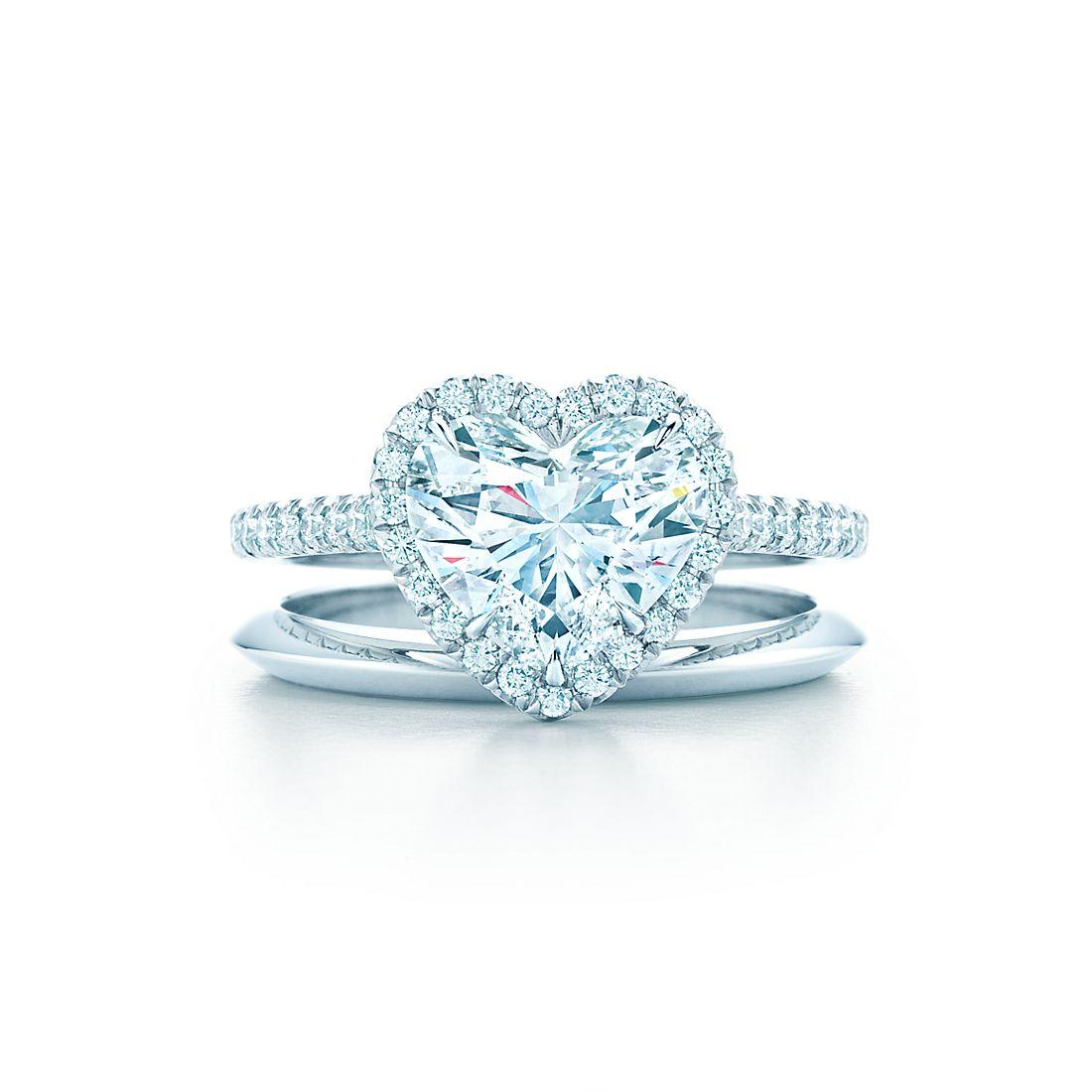 Tiffany Soleste Heart Shaped Halo Diamond With Diamond Band