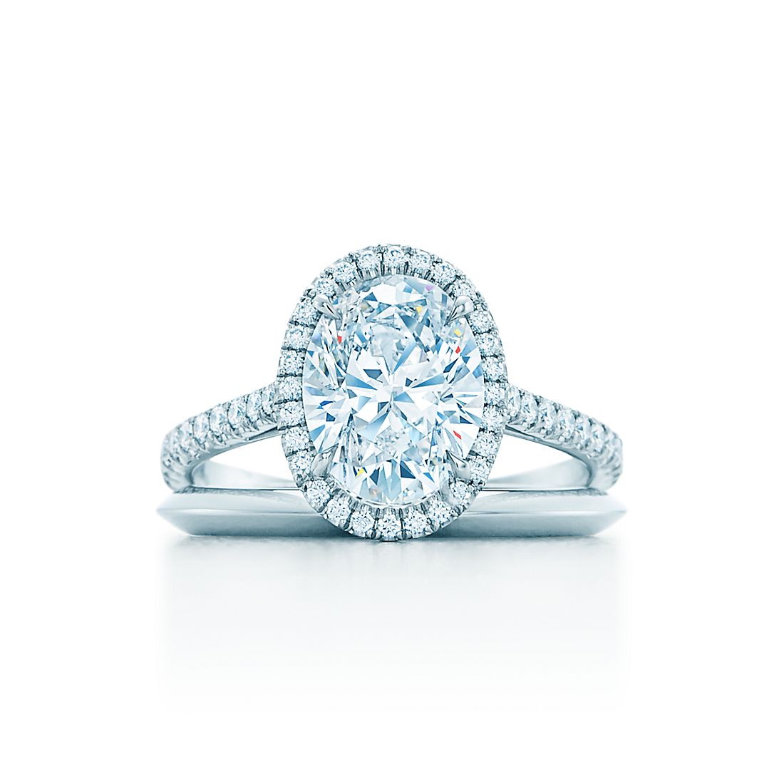 Oval Cut Halo Diamond With Diamond Band Engagement Rings Tiffany Co