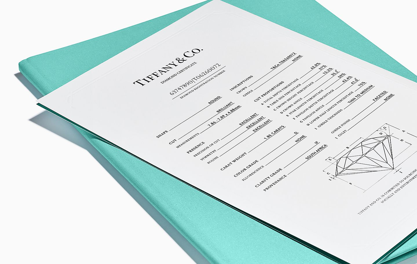 Tiffany & Co. Diamond Certificate and Full Lifetime Warranty