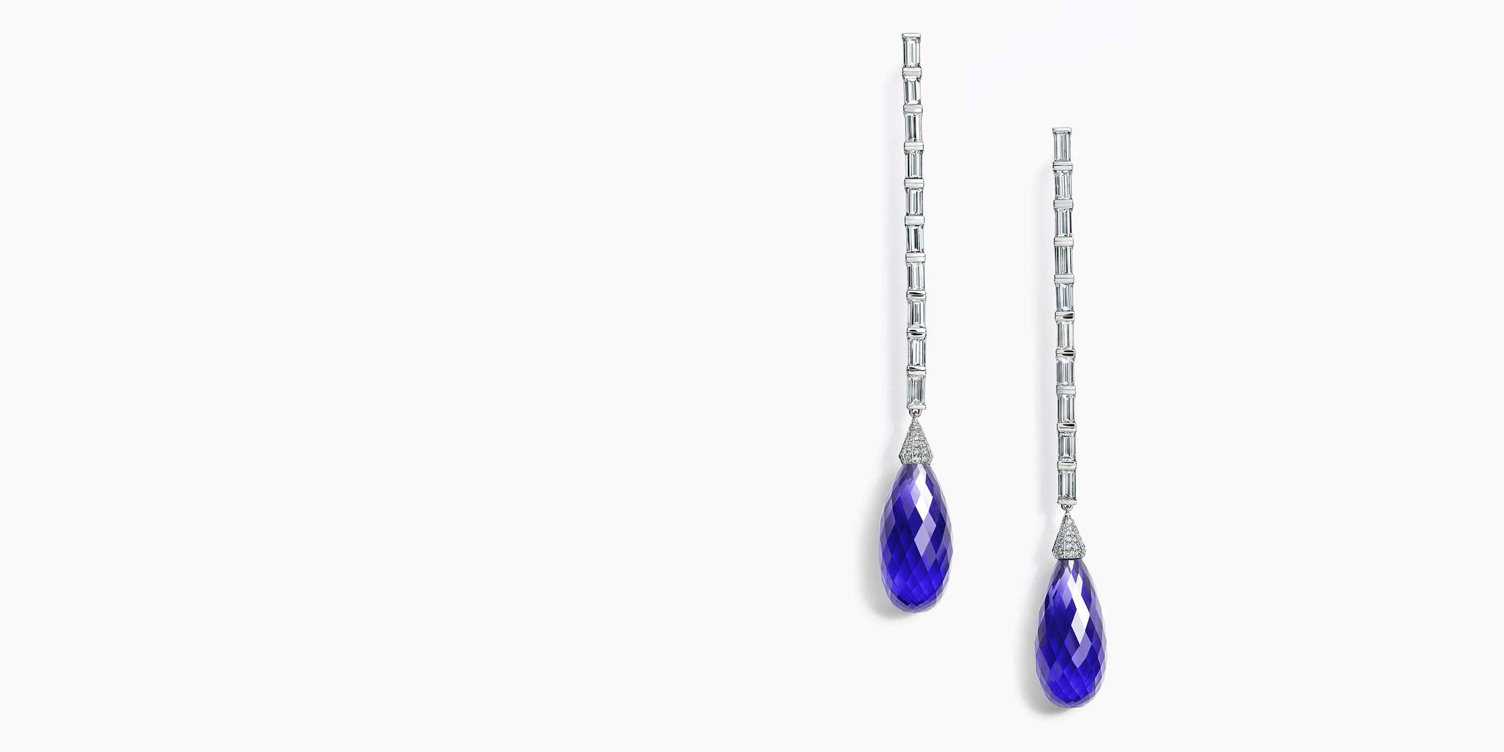 52af7fb02 Colors of Tiffany Tanzanite and Diamond Drop Earrings