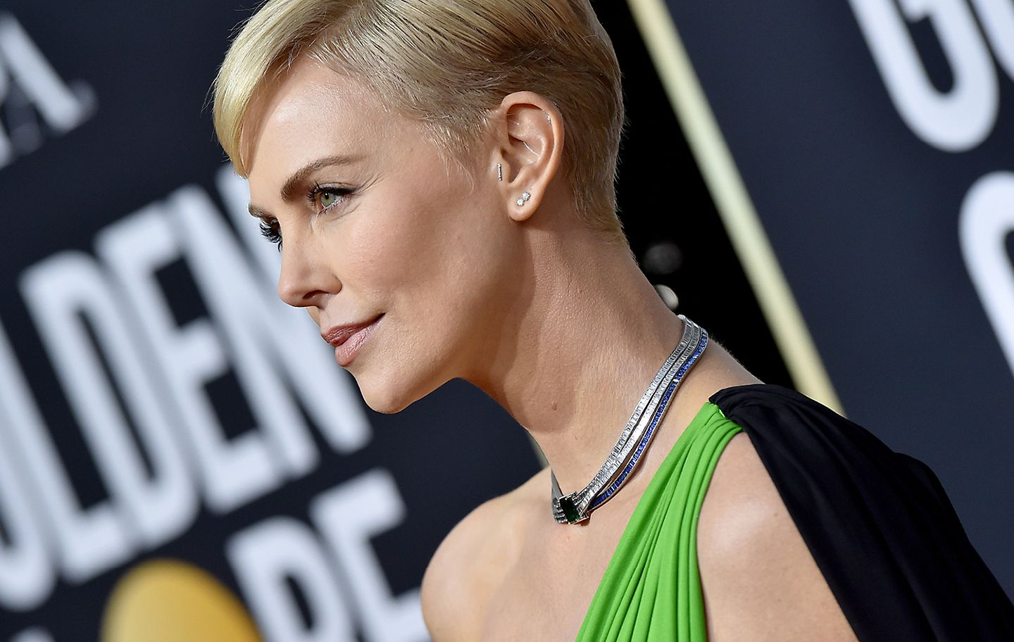 Charlize Theron in striking necklace was designed by Tiffany chief artistic officer Reed Krakoff