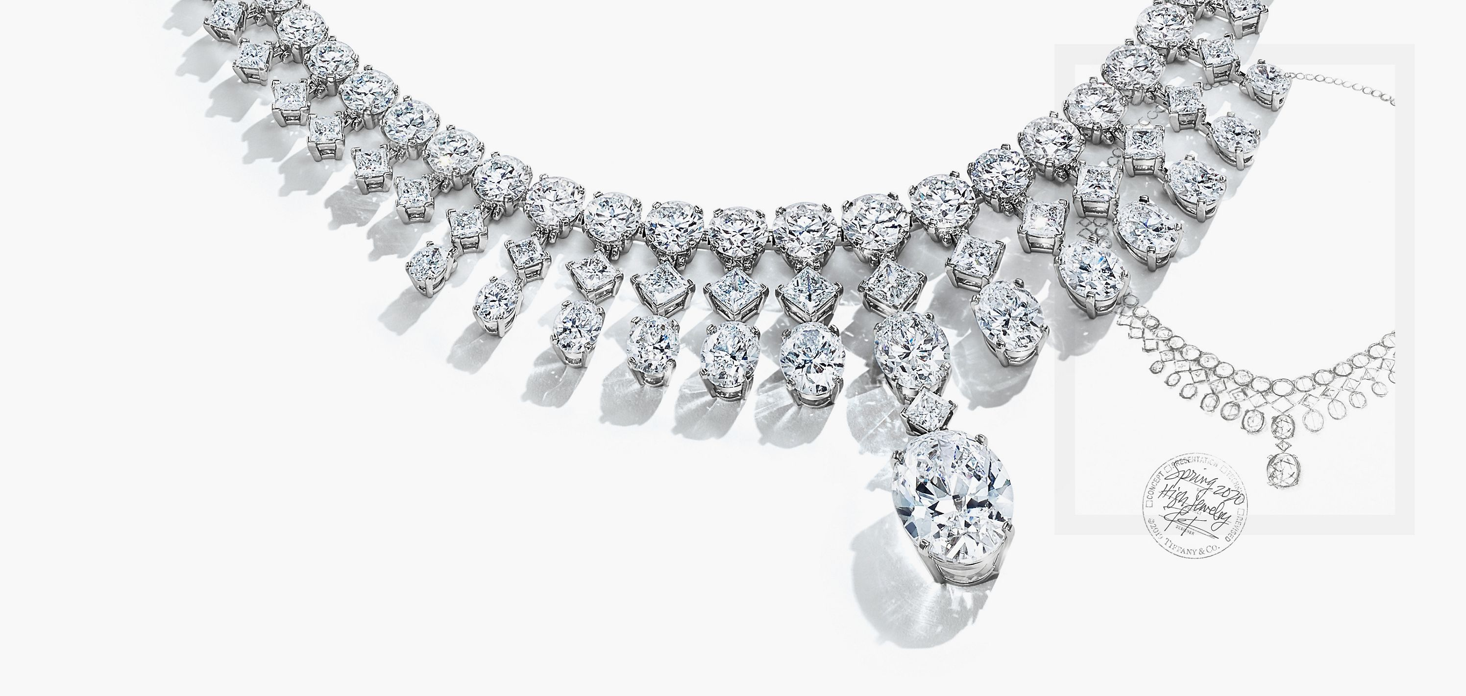 Tiffany Clara necklace with diamonds of over 65 total carats