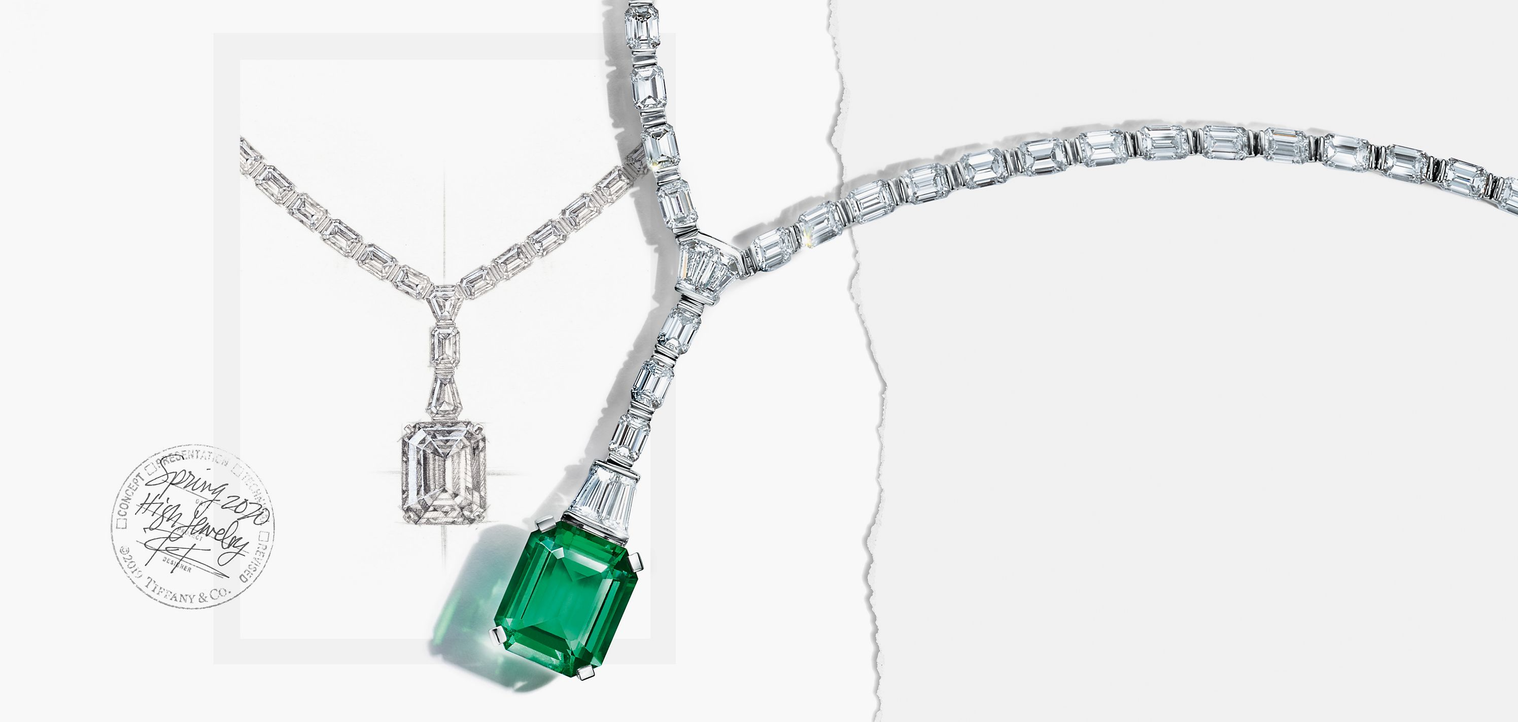 Platinum necklace with an emerald and diamonds