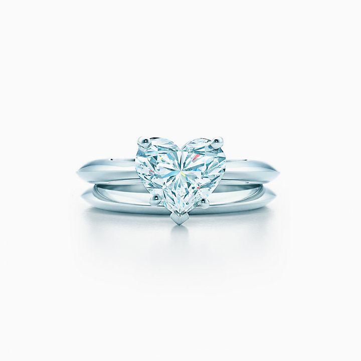 Heart Shaped Diamond Engagement Ring In Platinum