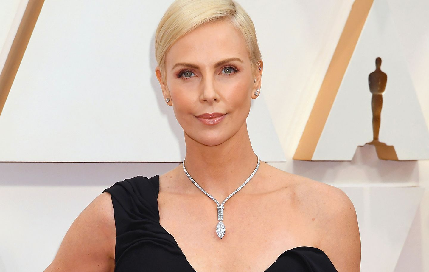 Charlize Theron in a Diamond Necklace from the Tiffany High Jewelry Collection Fall 2020