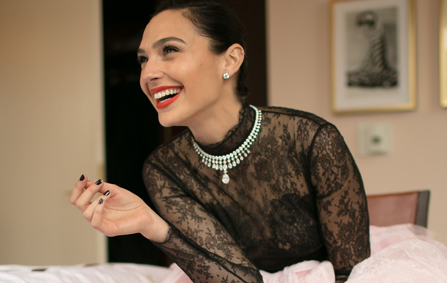 Gal Gadot in the Tiffany Clara Diamond Necklace
