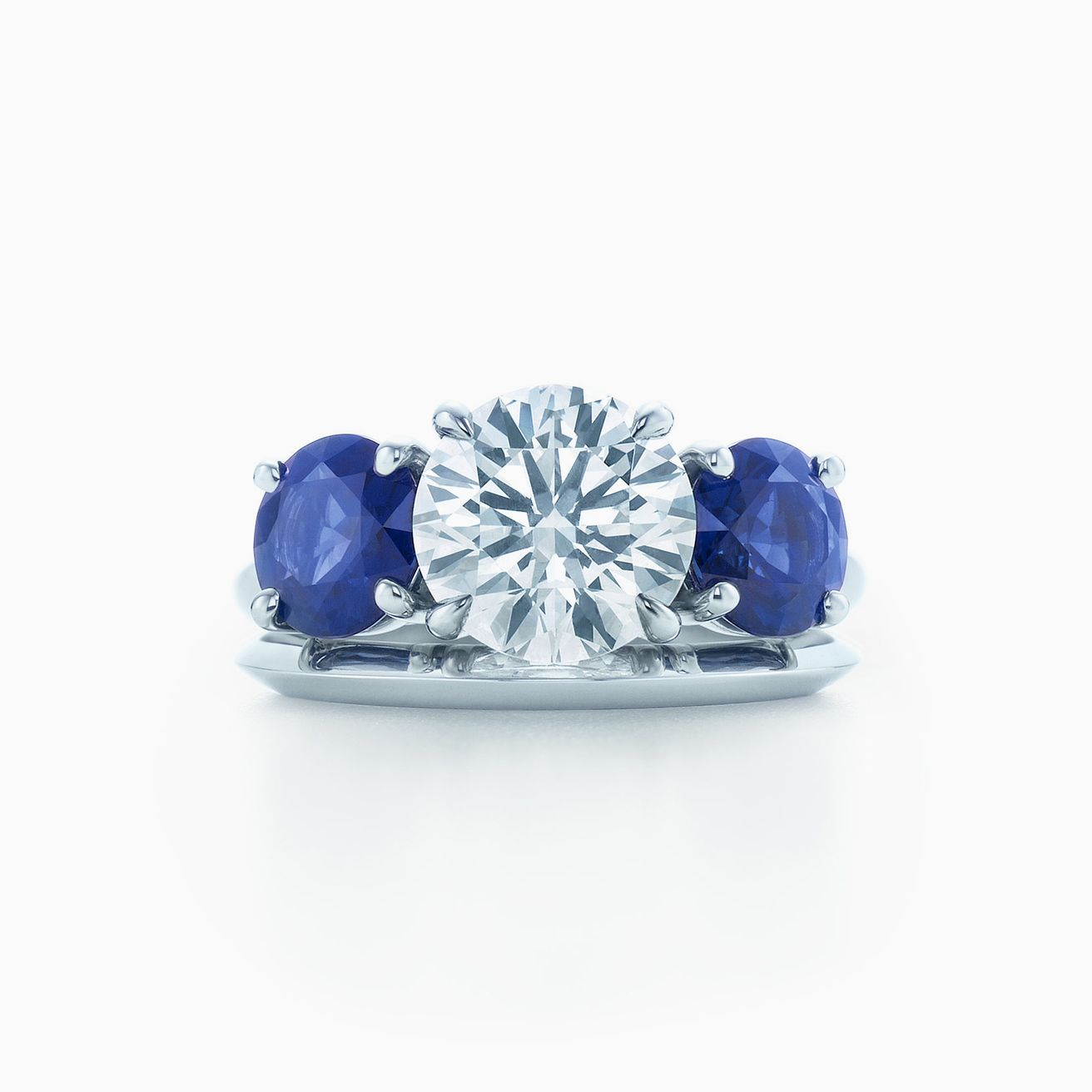 Stuller Three Stone Side Stones: Tiffany Three Stone Engagement Ring With Sapphire Side