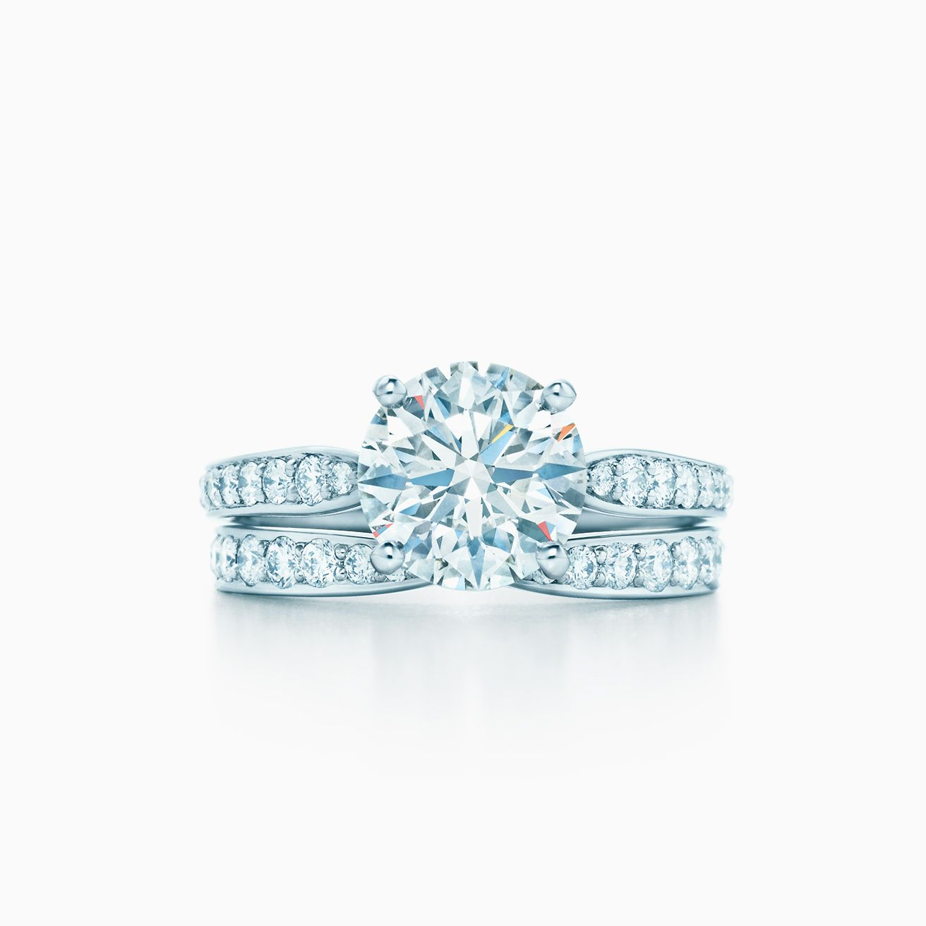5e15a1cbe Click the wedding bands below to see how each pairs with your engagement  ring. Tiffany Harmony® Bead-set Diamond Ring