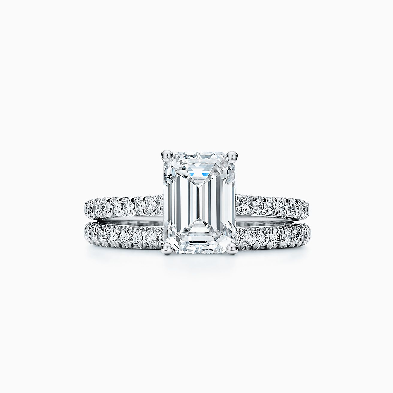 Tiffany Novo Emerald Cut Engagement Ring With A Pave Diamond Platinum Band