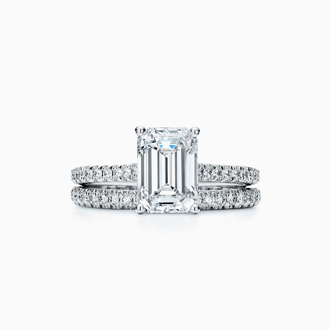 9b2ef8815d1c Tiffany Novo® emerald-cut engagement ring with a pavé diamond band in  platinum.