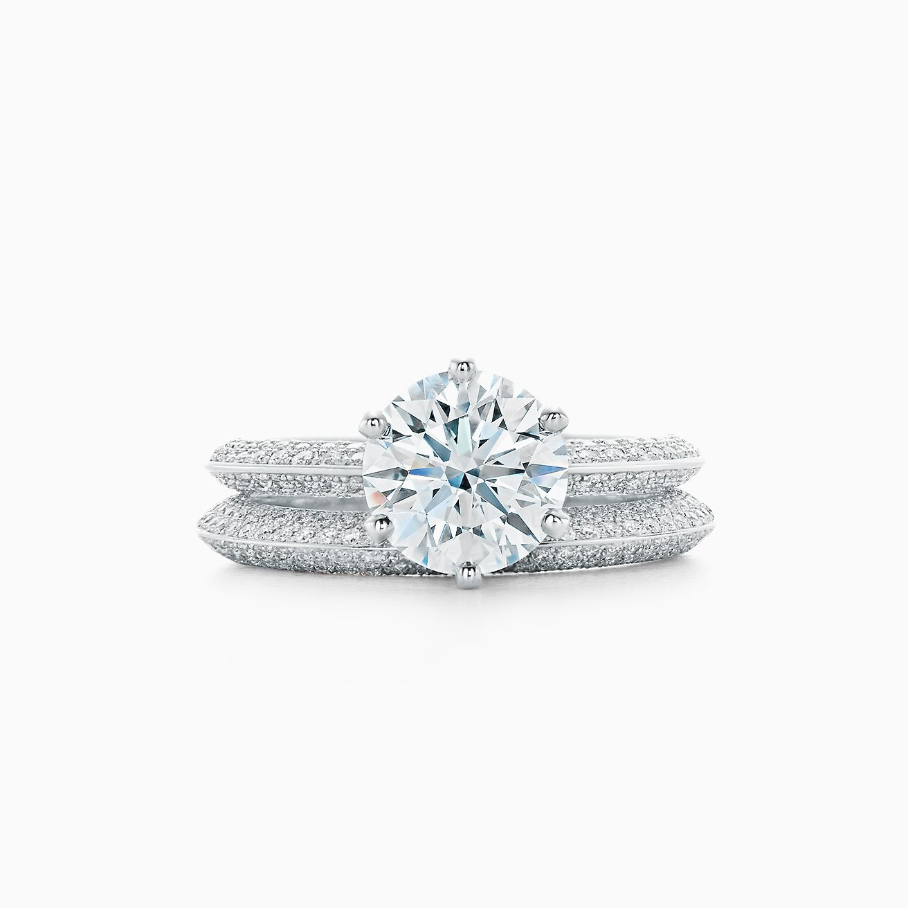 Tiffany Wedding Rings.Pave Tiffany Setting Engagement Ring With A Pave Diamond Band In Platinum